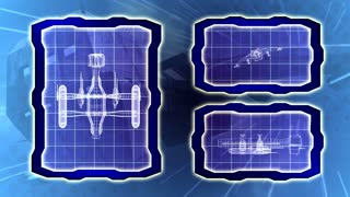 Blueprint of a futuristic spaceship seamless loop