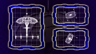 Blueprint of an animated space ship seamless loop
