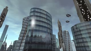 Building in futuristic city with spaceships passing by