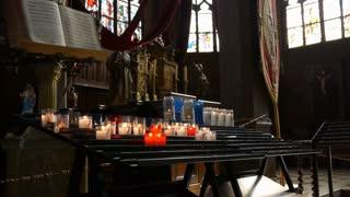 Candles in church Honfleur, France