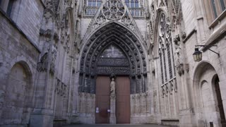 Cathedral alley exterior in Rouen, Normandy France, TILT