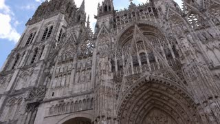 Cathedral front exterior in Rouen, Normandy France, PAN