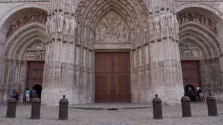Cathedral front exterior in Rouen, Normandy France