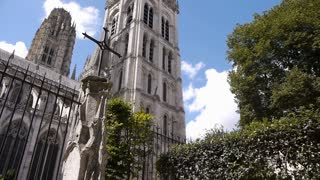 Cathedral side exterior in Rouen, Normandy France, PAN
