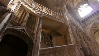 Cathedral staircase and interior in Rouen, Normandy France, PAN