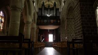 Church organ and interior in Broglie, Normandy France, TILT