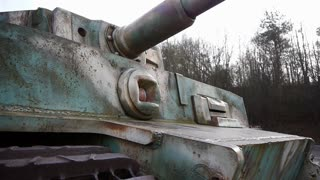 Close-up of a German tiger tank in Normandy France