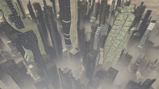 Collapsing buildings with dust