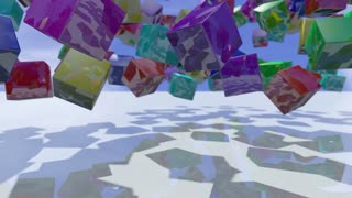 Colorful animated cube blocks falling down. 3D rendering 4K