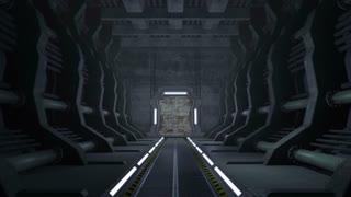 Corridor. Doors with green screen and alpha matte 4K