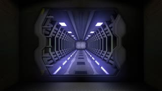 Corridor with opening door and green screen