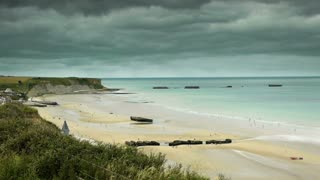 D Day beach at Arromanches, France
