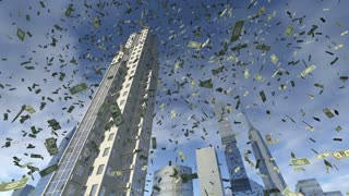Dollar money fall from animated real buildings 4K