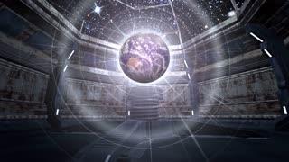 Earth in futuristic scene