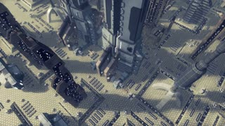 Fly over an animated futuristic scifi city. 4K