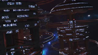 Fly through a fleet of futuristic space stations 4K