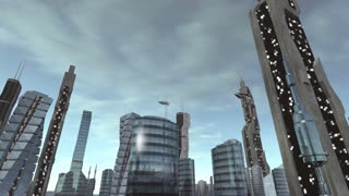 Fly through futuristic city with spaceships passing by