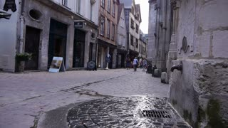 Fountain in street of Rouen, Normandy France