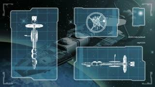 Futuristic blueprint of a spaceship