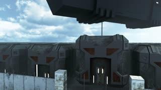 Futuristic cargo spaceship hoovering over sci fi prison. 3D rendering