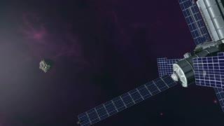Futuristic exploration of flying into orbit around earth 4K