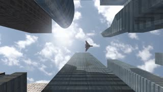 Futuristic spaceship flying above modern skyscrapers
