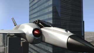 Futuristic spaceship flying outward a cityscape