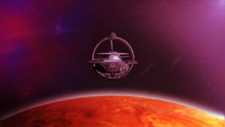 Futuristic spaceship flying over planet - front view