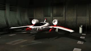 Futuristic spaceship in hangar launching into space