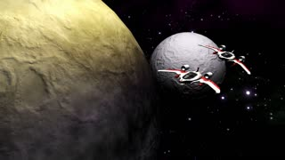 Futuristic spaceships flying above planet and moon