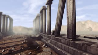 Greek pillars with depth-of-field