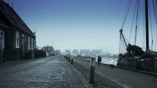 Harbor in the fog. Marken, The Netherlands 4K