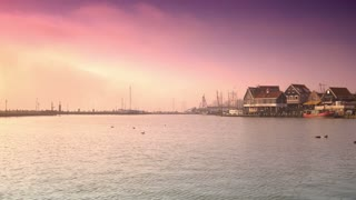 Harbour at sunset. Volendam, The Netherlands 4K
