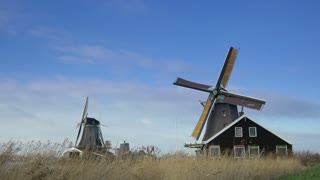 Historic windmills at the Zaanse Schans. Holland 4K