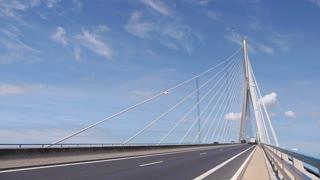LE HAVRE, FRANCE - 15 AUGUST, 2018: Bridge or Pont de Normandy
