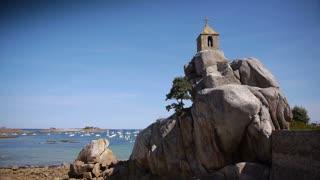 Little chapel at the seaside Port Blanc. Bretagne France