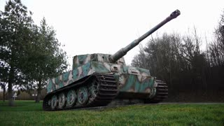 Long shot of a German tiger 1 tank in Normandy France
