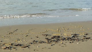 Love, letters written in the sand 4K