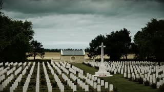 Memorial crosses at a soldier cemetery in France