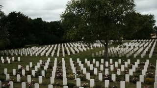 Memorial crosses at a war cemetery in France