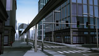Monorail in city animation