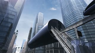 Monorail in modern city 4K