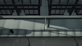 Monorail traveling through city high angle
