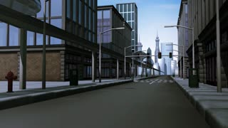 Monorail traveling through city
