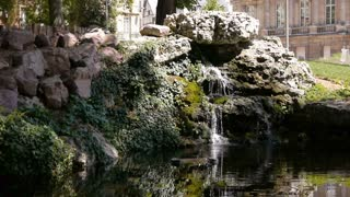 Park and waterfall in Rouen, Normandy France