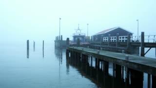 Pier in the fog. Marken, The Netherlands 4K