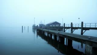 Pier in the mist. Marken, The Netherlands 4K
