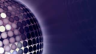Rotating disco sphere blue close-up