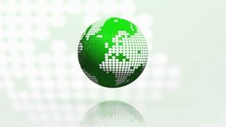 Rotating globe seamless loop green