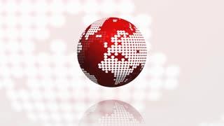 Rotating globe seamless loop red